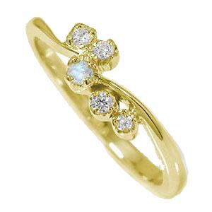 天使の矢 誕生石 ピンキーリング 10金 ブルームーンストーン ダイヤモンド 流れ星 指輪【送料無料】