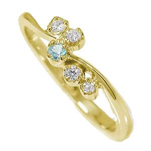 天使の矢 10金 ブルートパーズ ダイヤモンド ピンキーリング 流れ星 指輪 誕生石【送料無料】