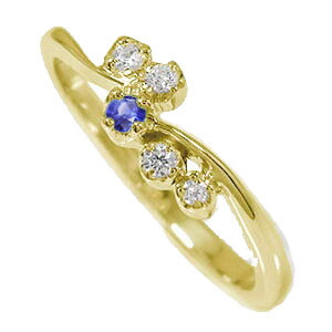 10/4 20時~ 天使の矢 ピンキーリング 流れ星 指輪 10金 サファイア 誕生石 ダイヤモンド 送料無料 買い回り 買いまわり