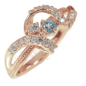 ピンキーリング 18金 アクアマリン ダイヤモンド 誕生石 リボン アンティーク ミル 指輪【送料無料】