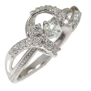 【送料無料】ダイヤモンド リング プラチナ リボン ピンキー アンティーク ミル 結婚指輪 婚約指輪 エンゲージリング 誕生石