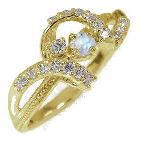 リボン 誕生石 ピンキーリング 10金 ブルームーンストーン ダイヤモンド アンティーク ミル 指輪【送料無料】