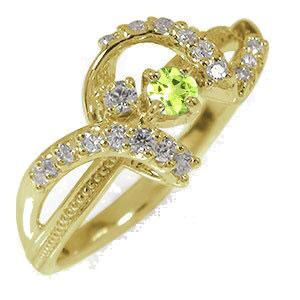 リボン 10金 ペリドット アンティーク ミル 指輪 誕生石 ダイヤモンド ピンキーリング【送料無料】
