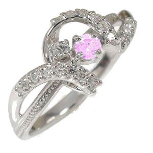 ピンクサファイア リング プラチナ アンティーク ミル 指輪 誕生石 ピンキー リボン【送料無料】