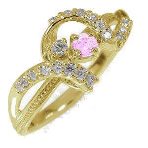 リボン 10金 ピンクサファイア ピンキーリング アンティーク ミル 指輪 ダイヤモンド 誕生石【送料無料】