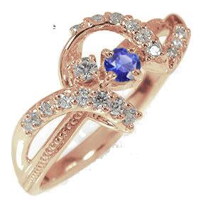 21日20時~28日1時まで ピンキーリング 18金 サファイア ダイヤモンド アンティーク ミル 指輪 誕生石 リボン【送料無料】 買いまわり 買い回り