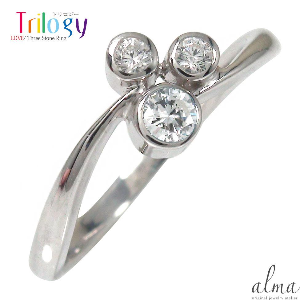 ダイヤモンド リング プラチナ トリロジー ピンキー フクリン 指輪 誕生石【送料無料】