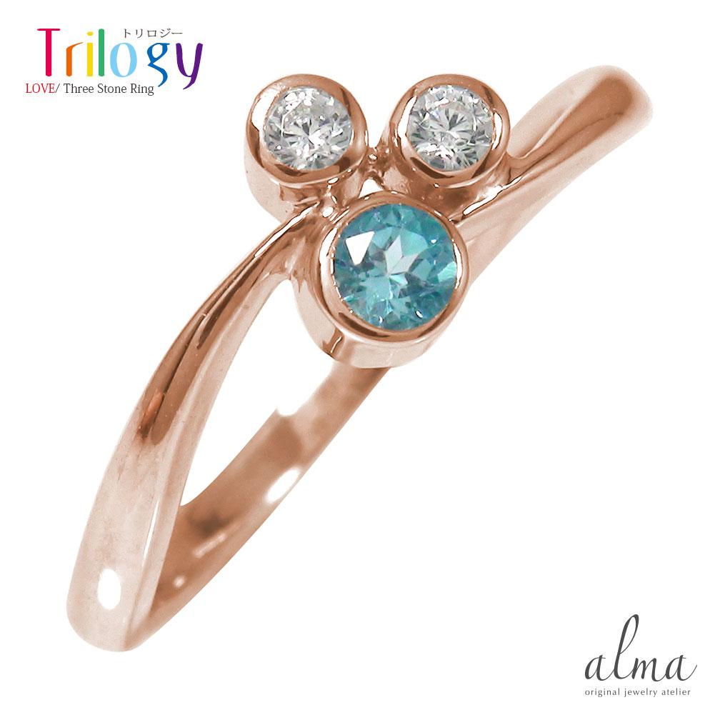 21日20時~28日1時まで ピンキーリング 18金 ブルートパーズ ダイヤモンド トリロジー フクリン 指輪 誕生石【送料無料】 買いまわり 買い回り