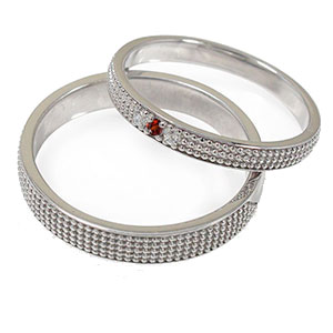 ガーネット リング プラチナ 誕生石 マリッジリング ミルグレイン 2本セット 結婚指輪 ペア 指輪 レディース メンズ セット価格 送料無料