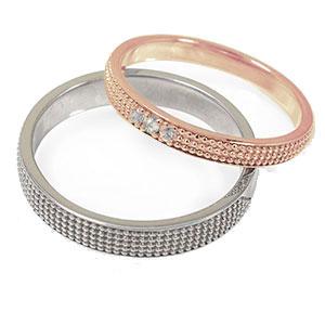 18金 ダイヤモンド マリッジリング ミルグレイン 2本セット 結婚指輪 ペア 指輪 誕生石 レディース メンズ セット価格 送料無料