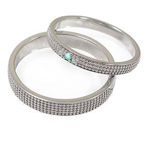 エメラルド リング プラチナ ミルグレイン 2本セット 結婚指輪 ペア 指輪 誕生石 マリッジリング  レディース メンズ セット価格 送料無料