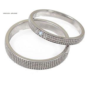 ブルームーンストーン リング プラチナ マリッジリング 誕生石 ミルグレイン 2本セット 結婚指輪 ペア 指輪 レディース メンズ セット価格 送料無料