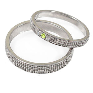 ペリドット リング プラチナ 誕生石 マリッジリング ミルグレイン 2本セット 結婚指輪 ペア 指輪 レディース メンズ セット価格 送料無料
