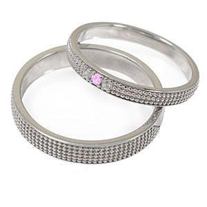 ピンクサファイア リング プラチナ ミルグレイン 2本セット 結婚指輪 ペア 指輪 誕生石 マリッジリング  レディース メンズ セット価格 送料無料