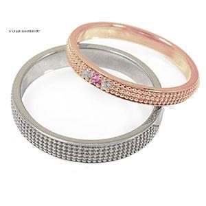 18金 ピンクトルマリン マリッジリング 誕生石 ミルグレイン 2本セット 結婚指輪 ペア 指輪 レディース メンズ セット価格 送料無料