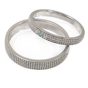 ブルートパーズ リング プラチナ 誕生石 マリッジリング ミルグレイン 2本セット 結婚指輪 ペア 指輪 レディース メンズ セット価格 送料無料