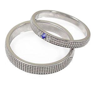 サファイア リング プラチナ 誕生石 ミルグレイン 2本セット 結婚指輪 ペア 指輪 マリッジリング ピンキー レディース メンズ セット価格 送料無料