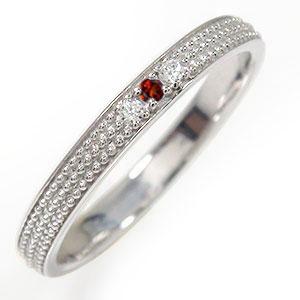 ガーネット リング プラチナ 誕生石 マリッジリング ミルグレイン 結婚指輪 指輪 レディース 送料無料