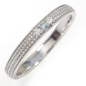 アクアマリン リング プラチナ マリッジリング 誕生石 ミルグレイン 結婚指輪 指輪 レディース 送料無料