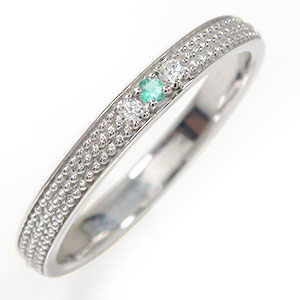 21日20時~28日1時まで エメラルド リング プラチナ ミルグレイン 結婚指輪 指輪 誕生石 マリッジリング  レディース 送料無料 買いまわり 買い回り