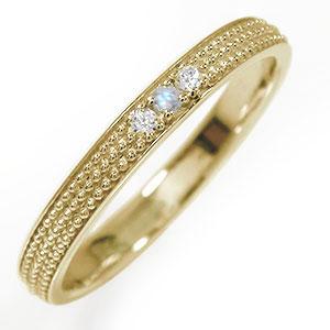 マリッジリング 誕生石 10金 ブルームーンストーン ミルグレイン 結婚指輪 指輪 レディース 送料無料
