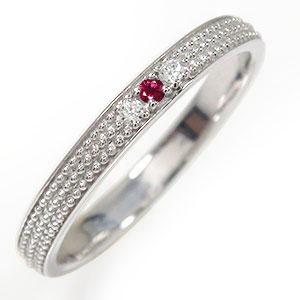 ルビー リング プラチナ 誕生石 マリッジリング ミルグレイン 結婚指輪 指輪 レディース 送料無料