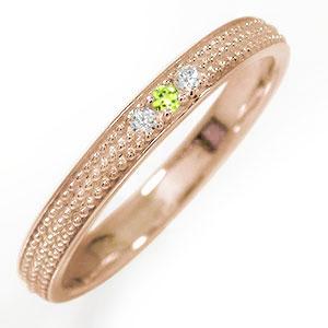 18金 ペリドット 誕生石 ミルグレイン 結婚指輪 指輪 マリッジリング  レディース 送料無料