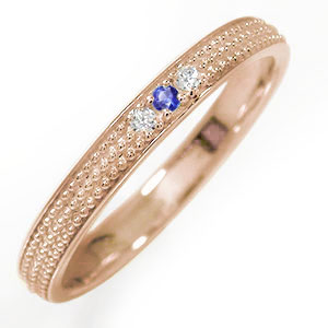 10/4 20時~ 18金 サファイア ミルグレイン 結婚指輪 指輪 誕生石 マリッジリング  レディース 送料無料 買い回り 買いまわり
