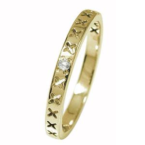 キス kiss ×××10金 誕生石 ピンキーリング ダイヤモンド 一粒石 エタニティ 結婚指輪 マリッジリング メンズ【送料無料】