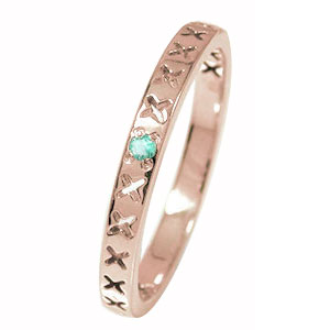 ピンキーリング 18金 エメラルド 誕生石 キス kiss ××× 一粒石 エタニティ 結婚指輪 マリッジリング【送料無料】