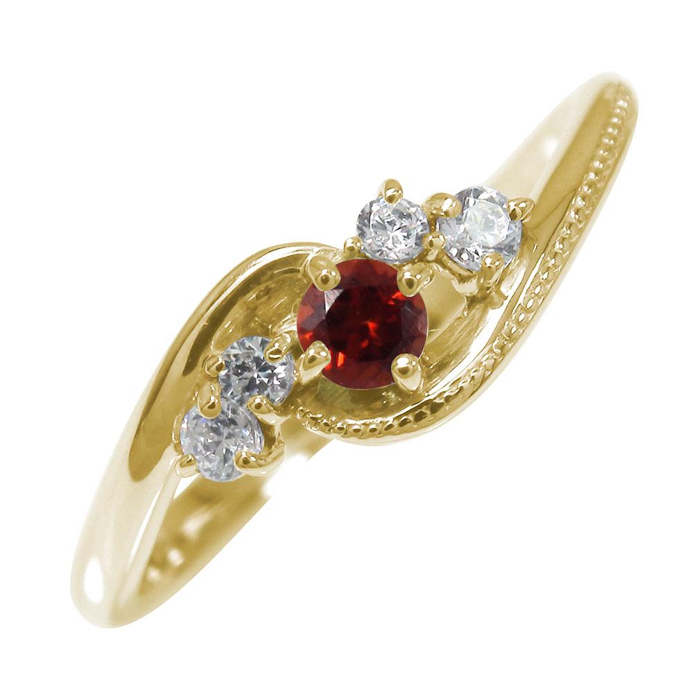 10/4 20時~ 絆 10金 ガーネット ダイヤモンド 誕生石 ピンキーリング ミル 指輪 送料無料 買い回り 買いまわり