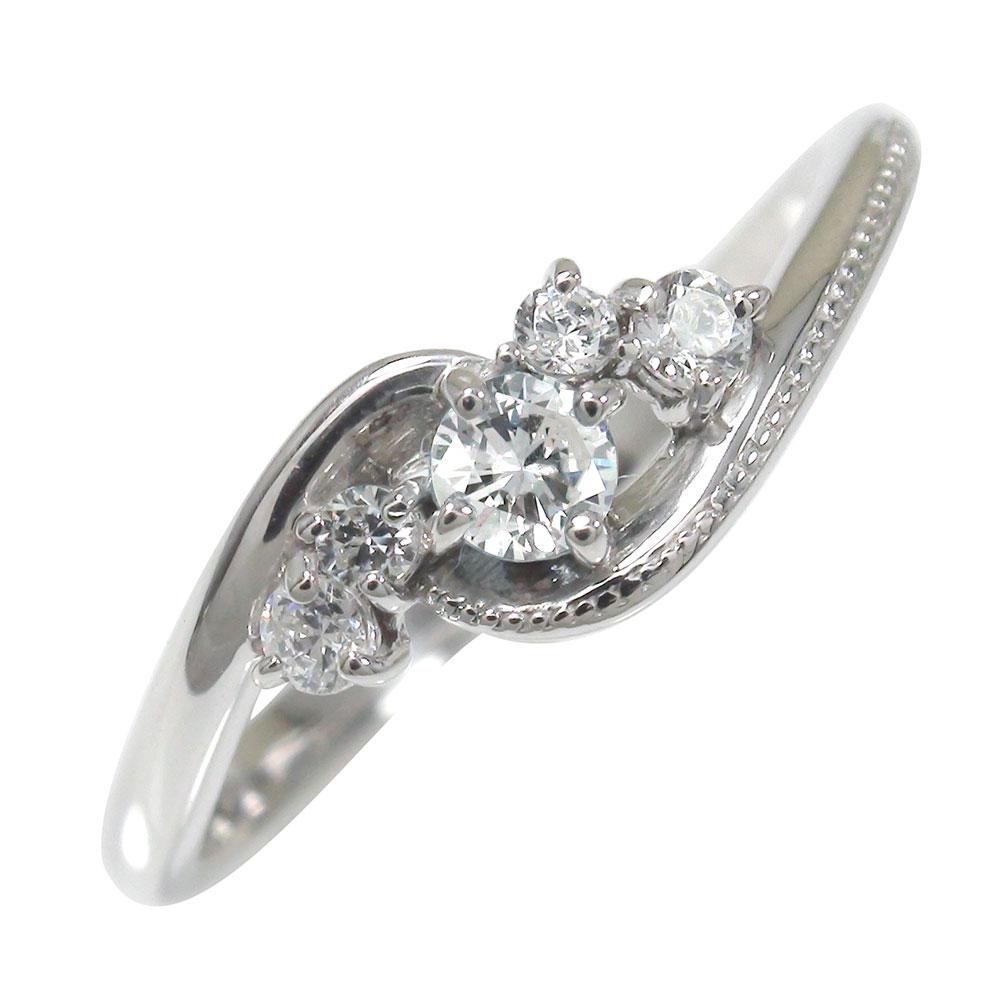 ダイヤモンド リング プラチナ 絆 ピンキー ミル 指輪 誕生石【送料無料】