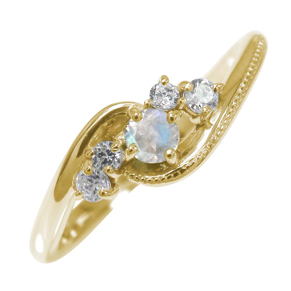 絆 誕生石 ピンキーリング 10金 ブルームーンストーン ダイヤモンド ミル 指輪【送料無料】