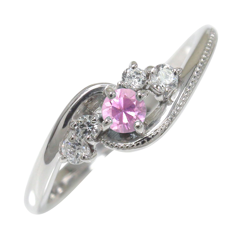 ピンクサファイア リング プラチナ ダイヤモンド ミル 指輪 誕生石 ピンキー 絆【送料無料】