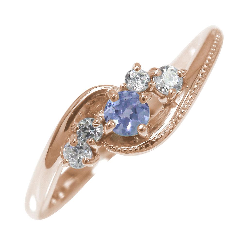 ピンキーリング 18金 タンザナイト 絆 誕生石 ミル 指輪 ダイヤモンド【送料無料】