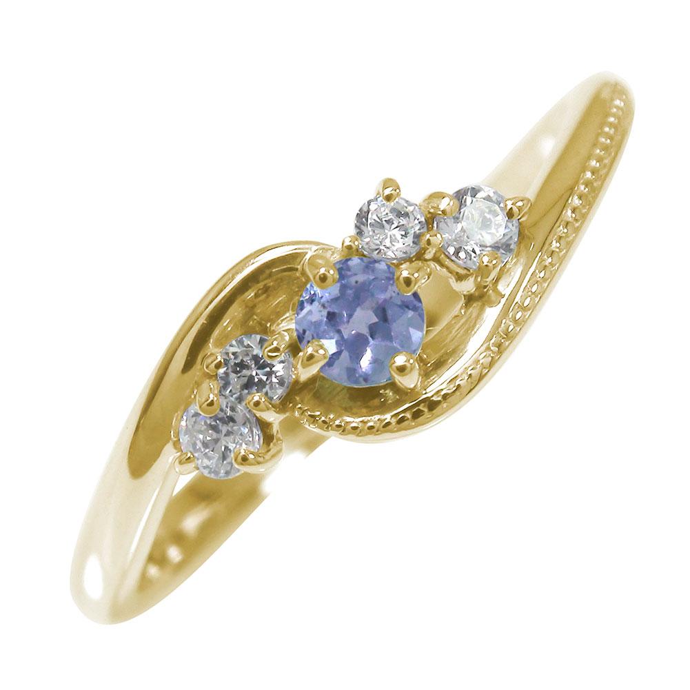 10/4 20時~ 絆 10金 ピンキーリング 誕生石 ミル 指輪 タンザナイト ダイヤモンド 送料無料 買い回り 買いまわり