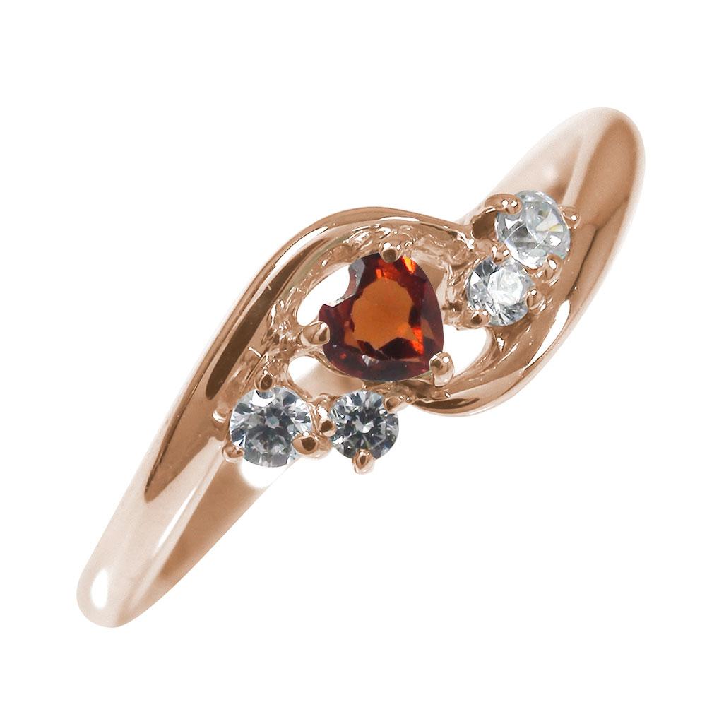 21日20時~28日1時まで ピンキーリング 18金 ガーネット ダイヤモンド ハート 誕生石 絆 指輪【送料無料】 買いまわり 買い回り