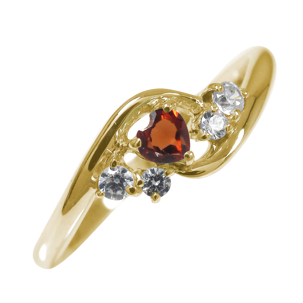 10/4 20時~ 絆 10金 ガーネット ダイヤモンド ハート 誕生石 ピンキーリング 指輪 送料無料 買い回り 買いまわり