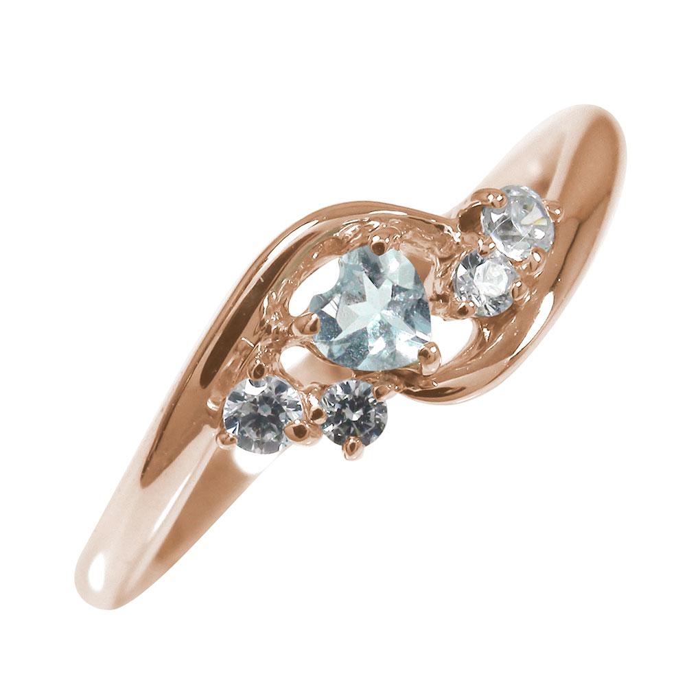 ピンキーリング 18金 アクアマリン ダイヤモンド ハート 誕生石 絆 指輪【送料無料】
