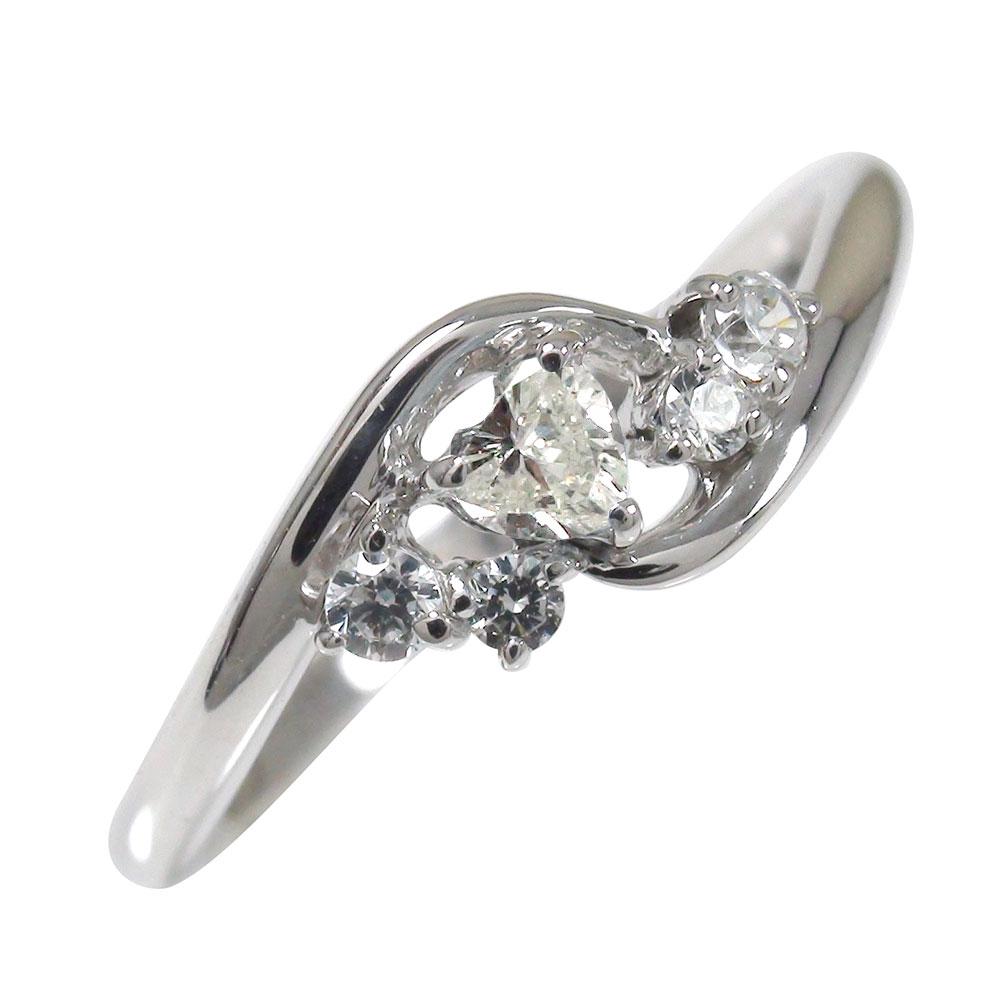 ダイヤモンド リング プラチナ 絆 ピンキー 指輪 ハート 誕生石【送料無料】