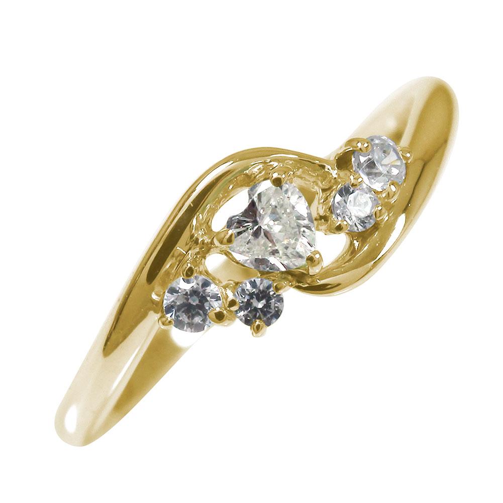 【送料無料】絆 10金 ハート 誕生石 ピンキーリング ダイヤモンド 結婚指輪 婚約指輪 エンゲージリング