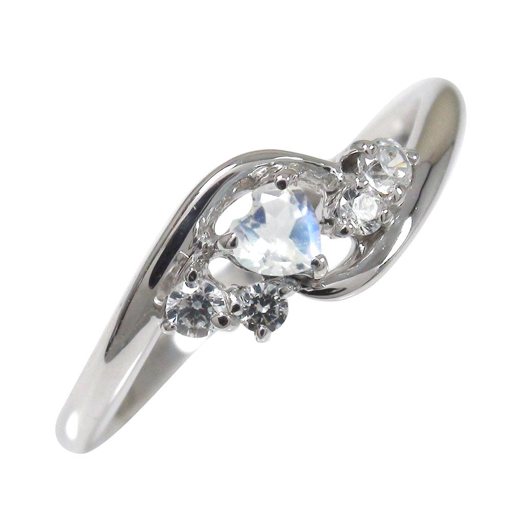 ブルームーンストーン リング プラチナ 絆 ハート 誕生石 ピンキー ダイヤモンド 指輪【送料無料】