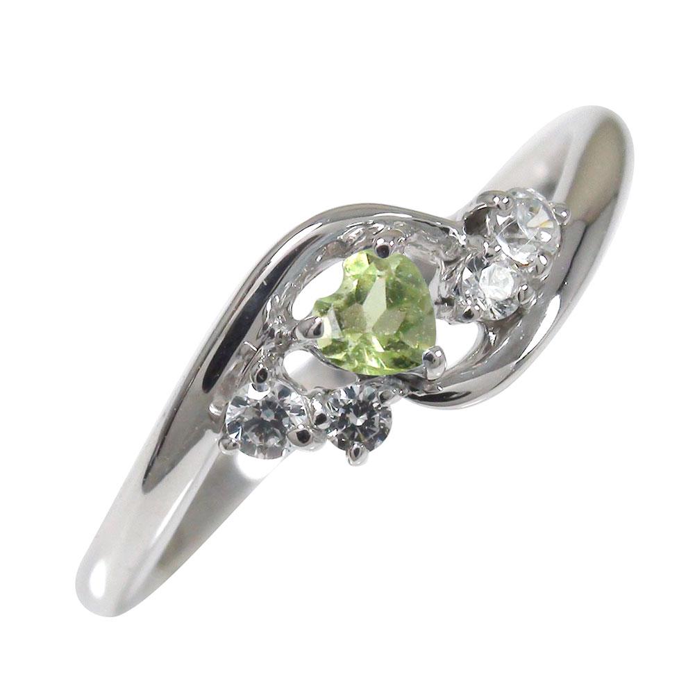 ペリドット リング プラチナ ハート 誕生石 絆 ピンキー ダイヤモンド 指輪【送料無料】