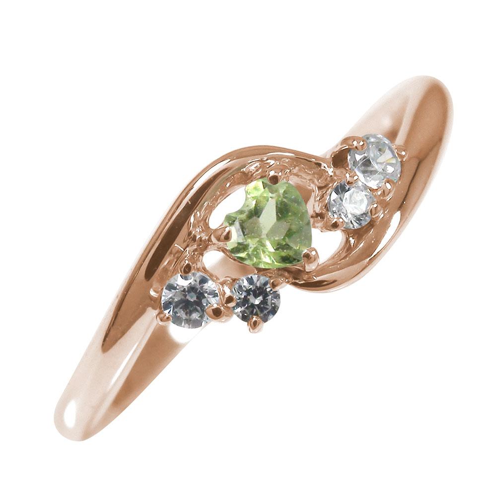 21日20時~28日1時まで ピンキーリング 18金 ペリドット ハート 誕生石 ダイヤモンド 指輪 絆【送料無料】 買いまわり 買い回り