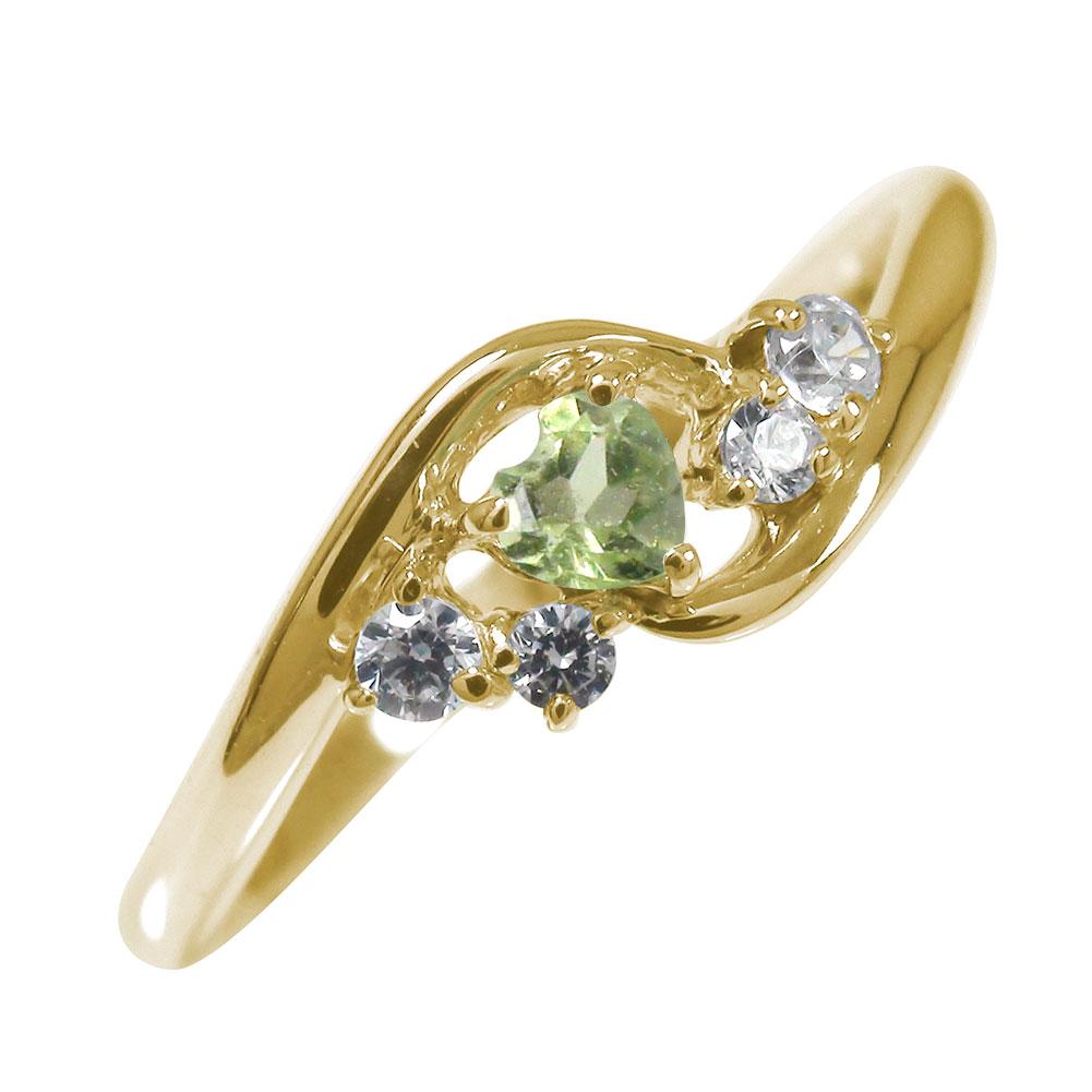 10/4 20時~ 絆 10金 ペリドット 指輪 ハート 誕生石 ダイヤモンド ピンキーリング 送料無料 買い回り 買いまわり