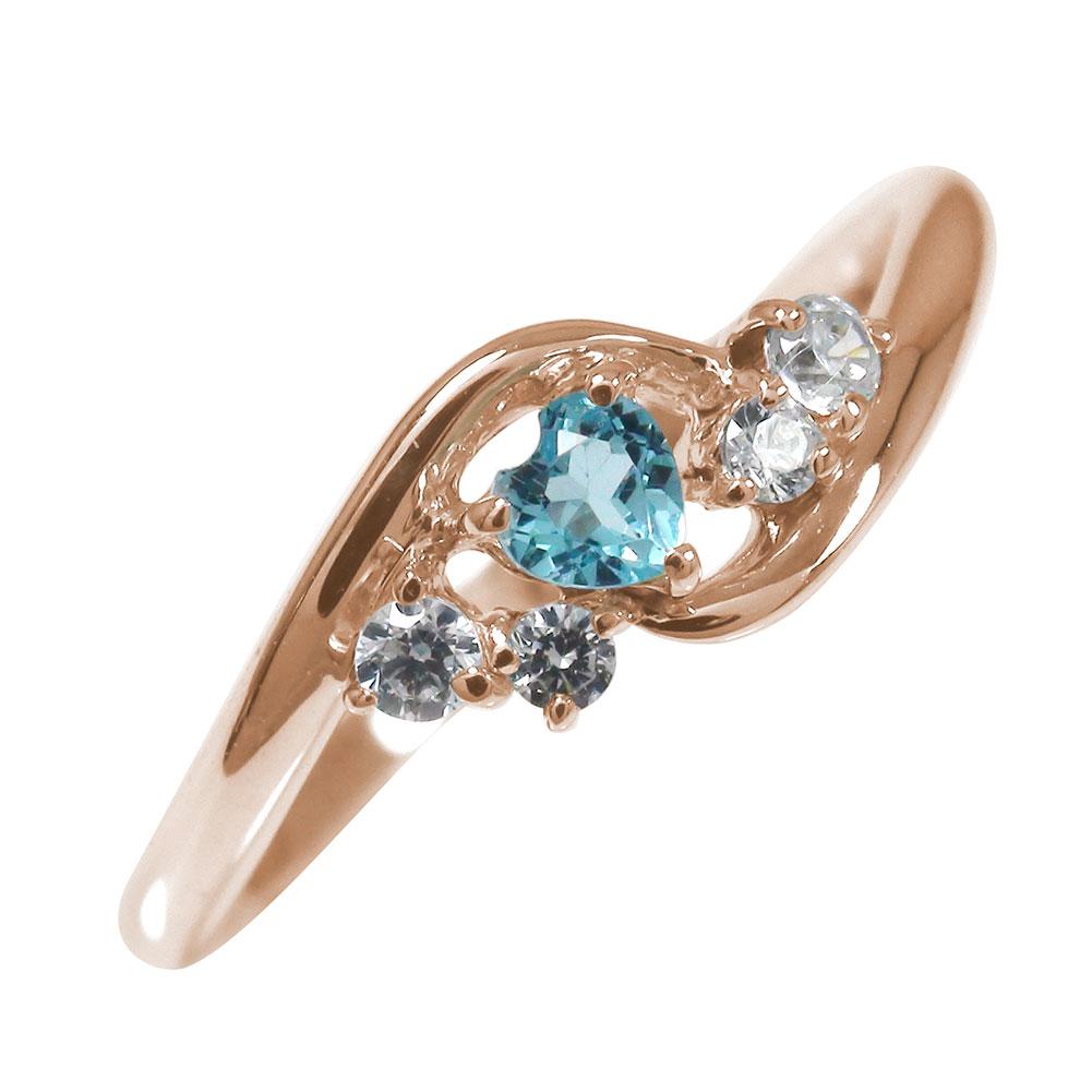 ピンキーリング 18金 ブルートパーズ ダイヤモンド 絆 指輪 ハート 誕生石【送料無料】