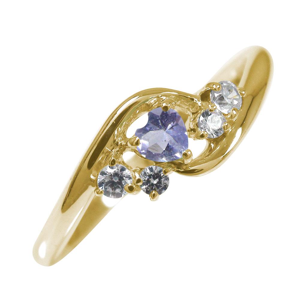 21日20時~28日1時まで 絆 10金 ピンキーリング ハート 誕生石 指輪 タンザナイト ダイヤモンド【送料無料】 買いまわり 買い回り