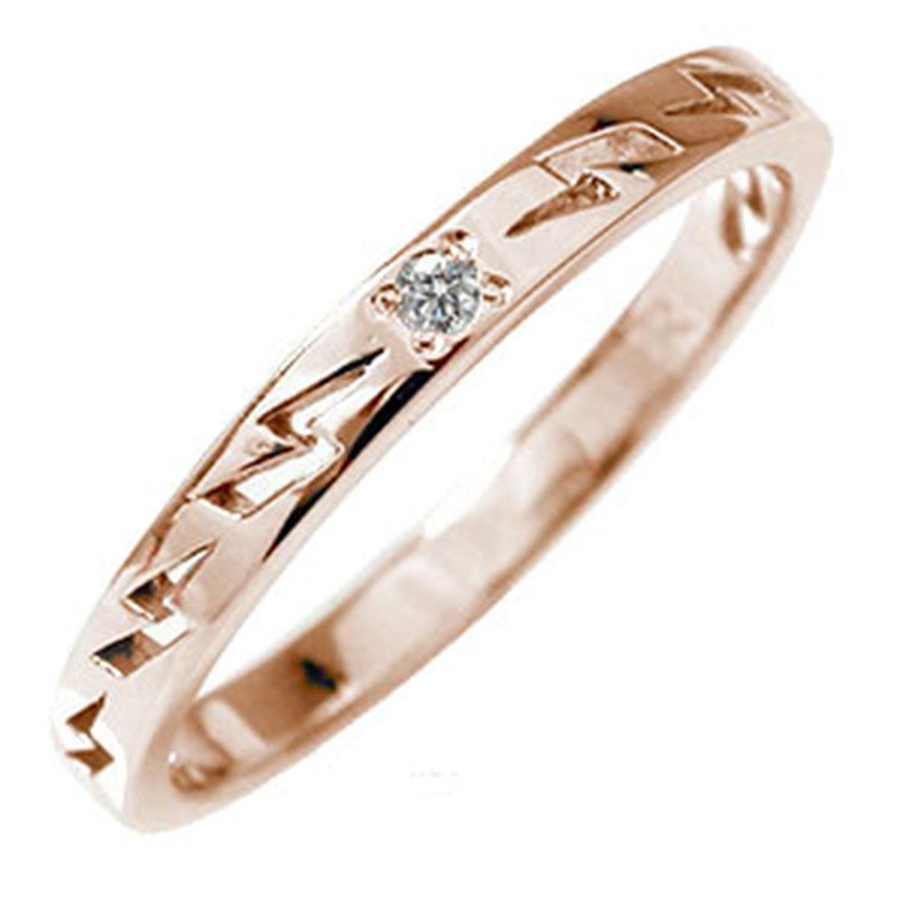 ピンキーリング 18金 ダイヤモンド インディアンジュエリー ネイティブアメリカン 雷 稲妻 サンダー 大人 エタニティ 結婚指輪 マリッジリング メンズ 誕生石【送料無料】