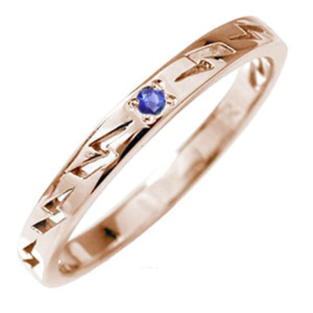 【送料無料】ピンキーリング 18金 サファイア 雷 稲妻 サンダー 大人 エタニティ 結婚指輪 メンズ マリッジリング 誕生石 インディアンジュエリー