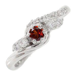 ガーネットリング 18金 指輪 0.17ct ダイヤモンド ピンキーリング レディース ユニセックス 誕生日 2017 記念日 母の日 プレゼント【送料無料】